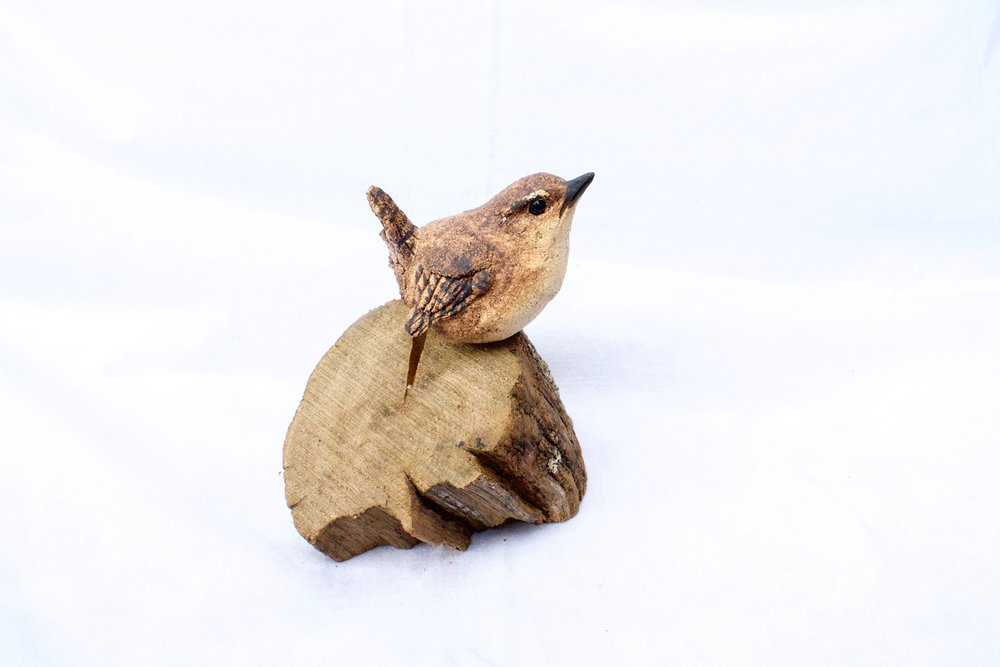 Mounted Wren  ceramic on wood  £77  SOLD
