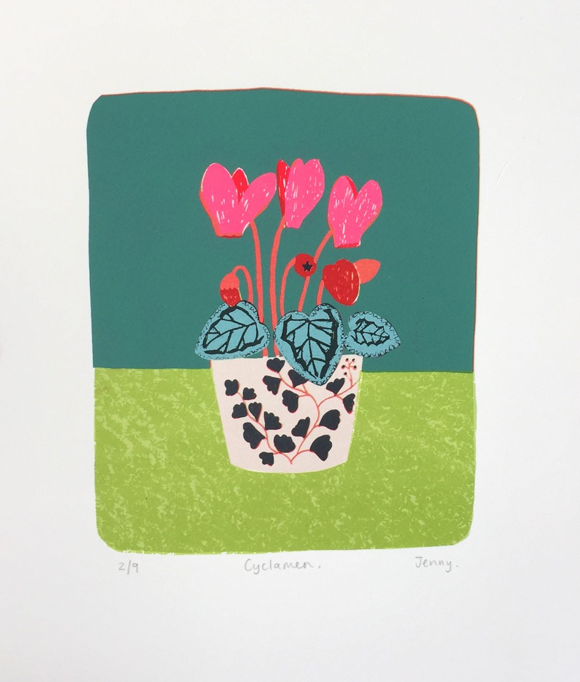 Cyclamen  screenprint image size 15.7cm x 19cm £73