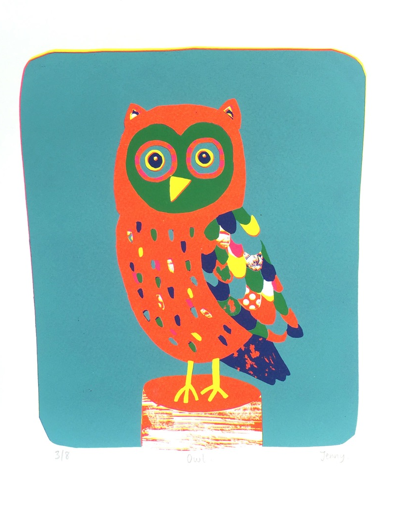 Owl screenprint image size 19.5cm x 23.5cm £73
