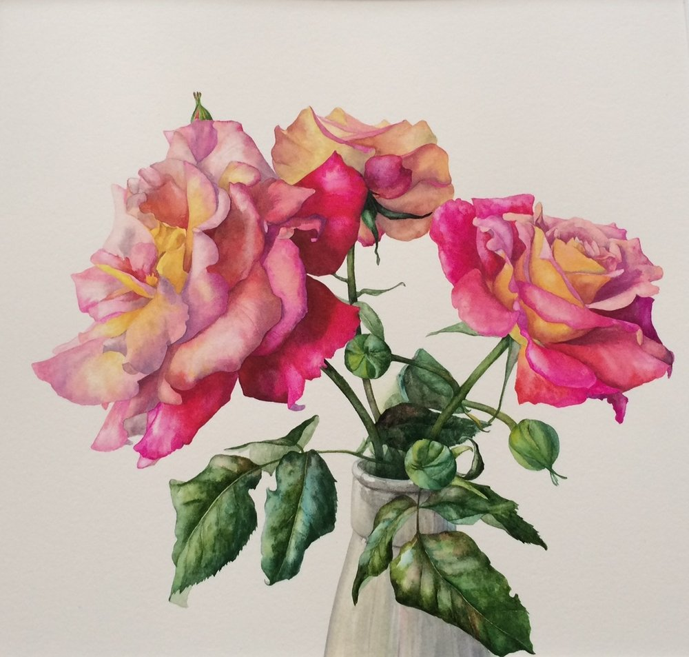 Gael Sellwood Roses in Milk Bottle £850