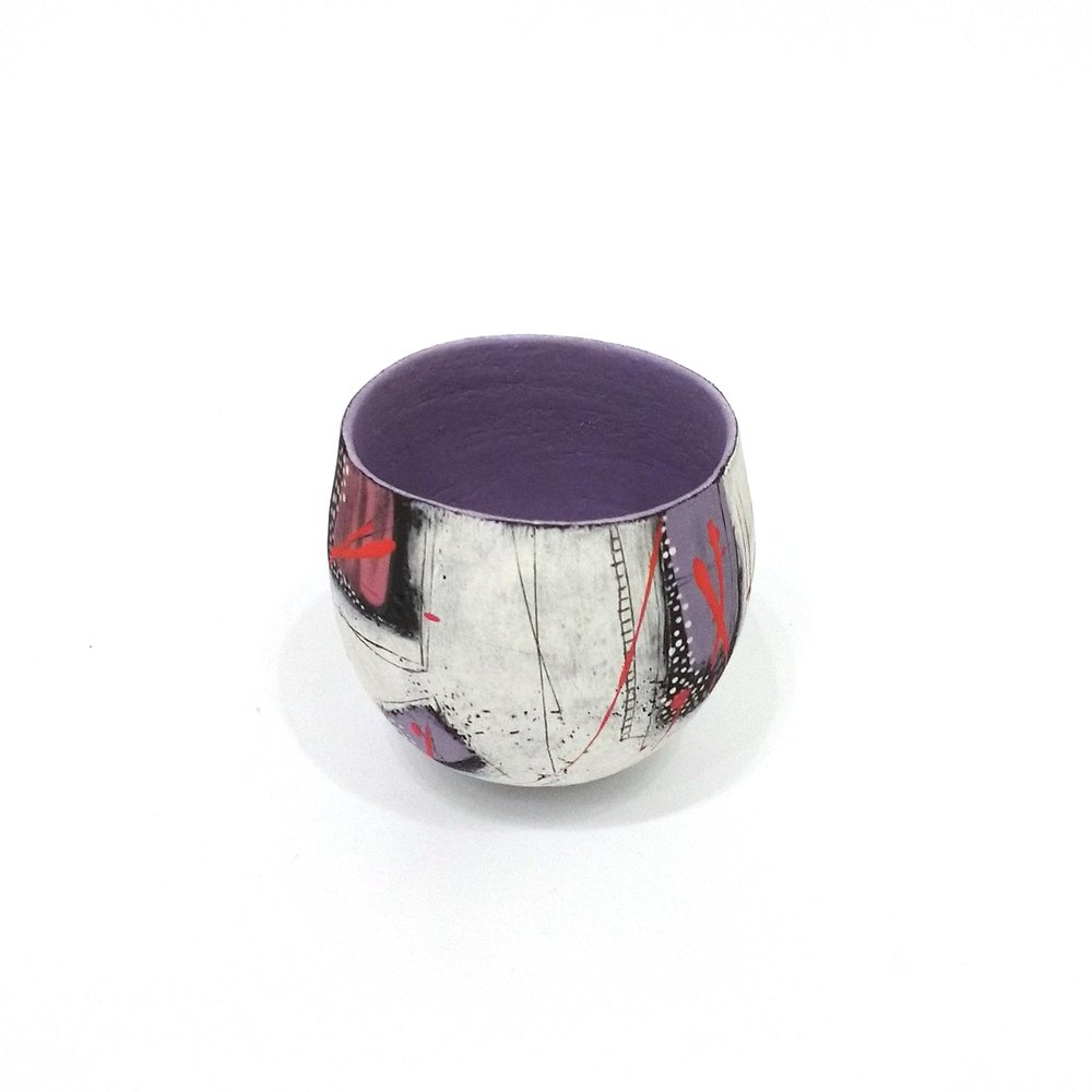 Jane Hollidge Purple and Red Pinch Pot £110