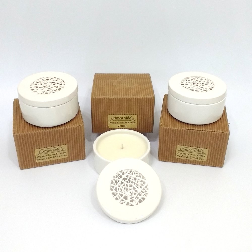 Timea Sido Scented Candle Orange Clove & Cinnamon - Vanilla - Violet & Sweet Pea £25 Each