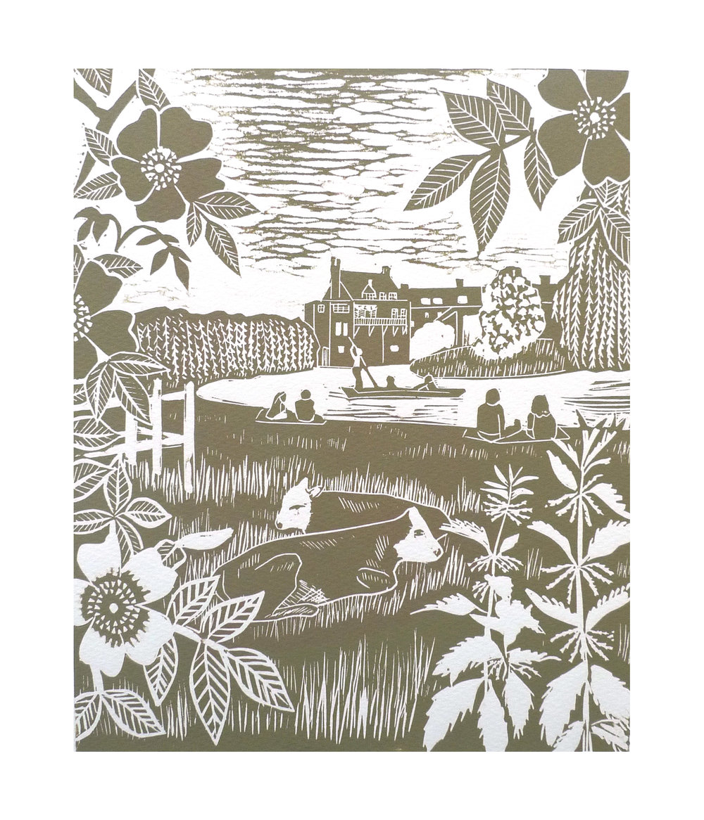 Picnic at the Mill pond   Linocut    21 cm x 25.5 cm   £45