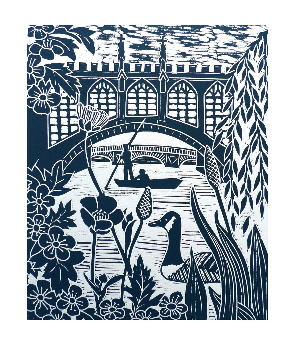 Punting at Cambridge  Linocut    21 cm x 25.5 cm   £45