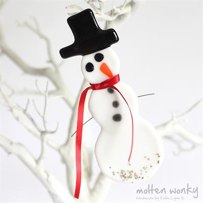 Snowman Decoration fused glass £22