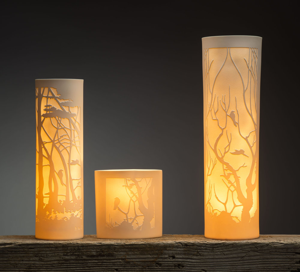 Woodland Lamps Slip cast, sandblasted and diamond polished porcelain.  34x10cm, 15x7.5cm and 44x13cm. Image by Paul Mounsey