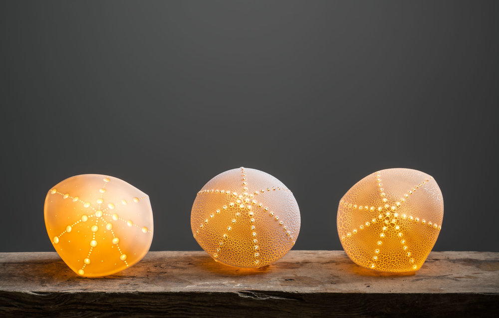 Three Urchins Slip cast and manipulated porcelain with crawling glaze.  15 and 17cm Image by Paul Mounsey
