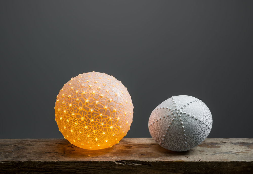 Pollen and Urchin Lamp Slipcast and manipulated porcelain with crazed glaze 18cm and 15cm across Image by Paul Mounsey