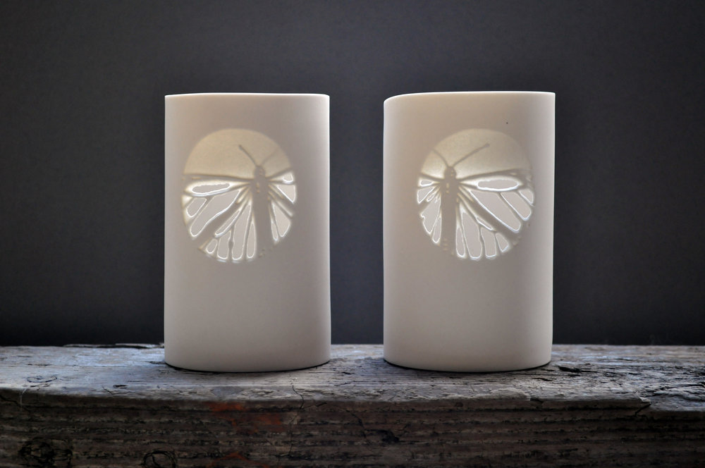 Monarch Moons Tea Light Holders Slipcast, masked and sandblasted porcelain, unglazed 12x9cm