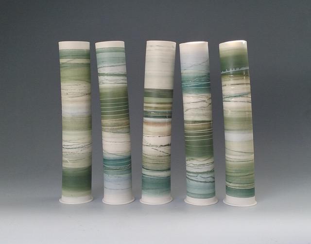 Tall Landscape Forms  Mono-printed porcelain  35cm h x 8cm d