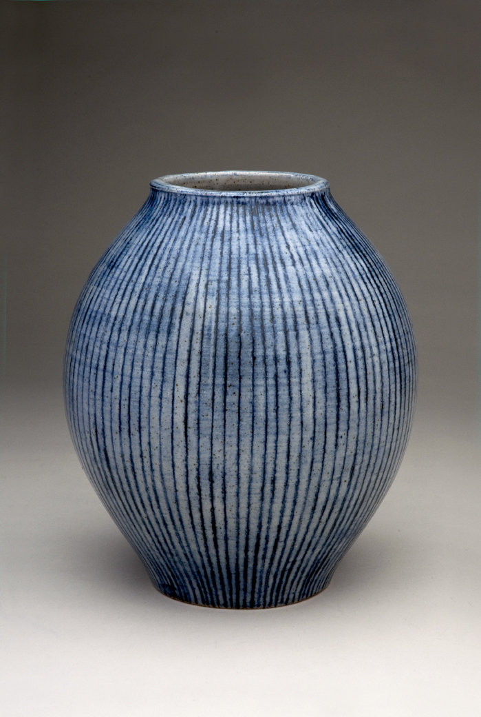 Large blue vase with vertical stripes h-30cm Sold