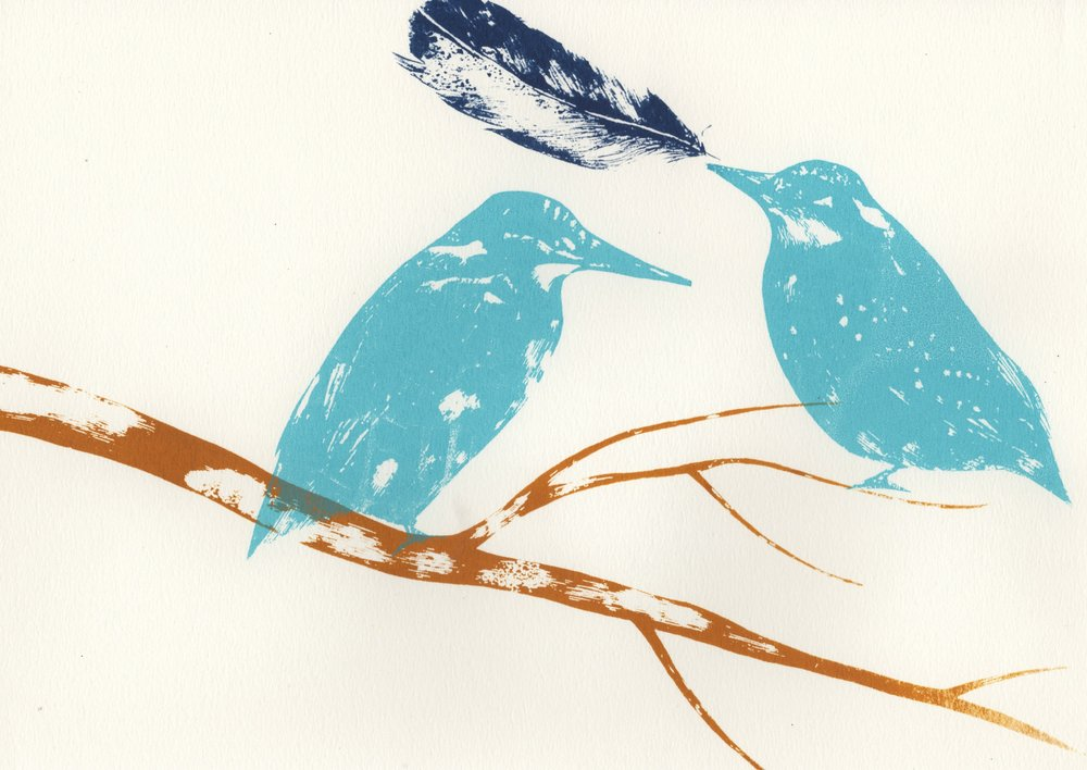 Kingfisher and Branch   screenprint    29.5cm x 21cm    £31 (unframed)