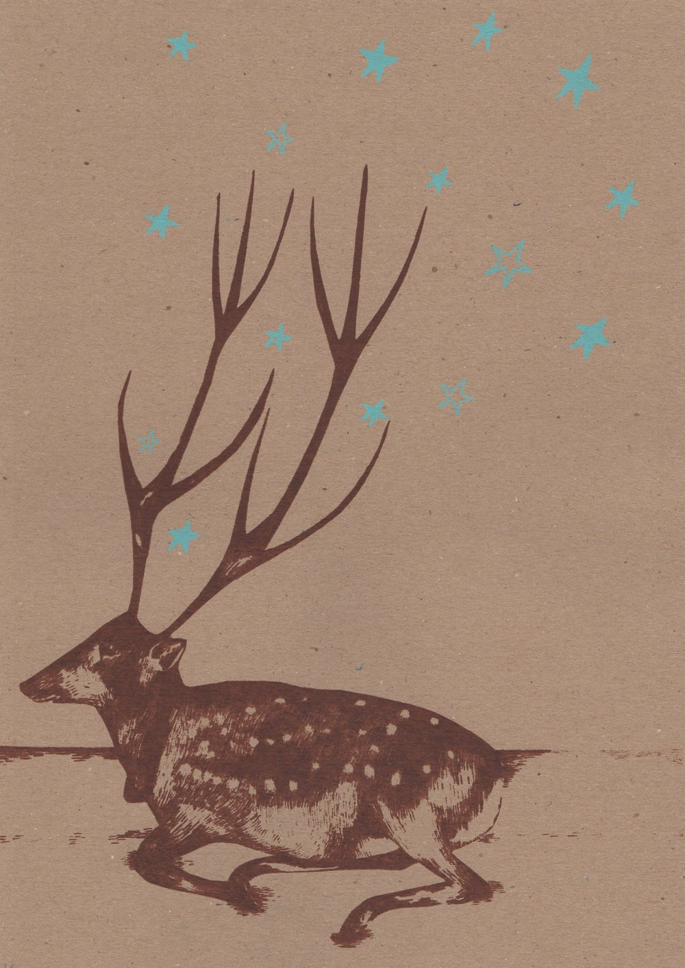 Deer  screenprint  21cm x 29.5cm   £28 (unframed)