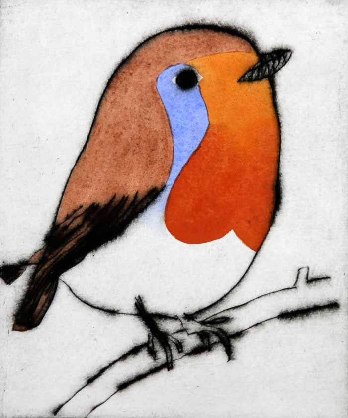 Bright Robin  drypoint and watercolour 15 x 12.5 cm £270 framed  £199 unframed