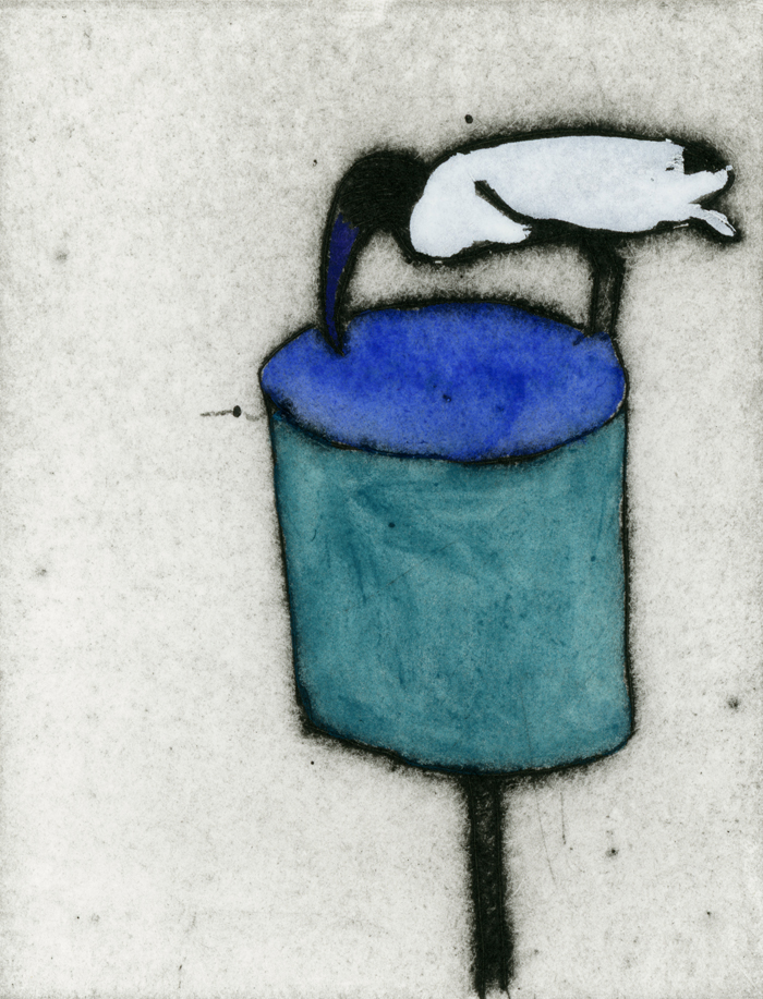 Cheeky Ibis  drypoint and watercolour 11 x 8.5 cm £110 unframed