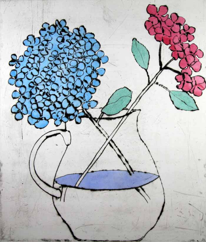 Hydrangea drypoint and watercolour 59 x 50 cm £680 framed  £480 unframed