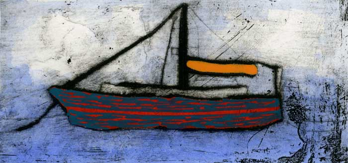 Orange Sail  drypoint and watercolour 7 x 15 cm £170 framed  £120 unframed