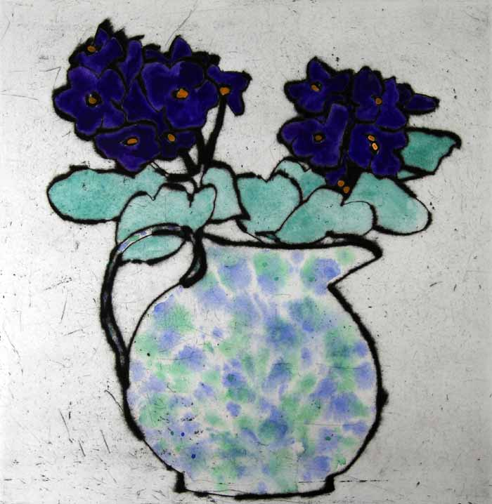 Purple African Violet  drypoint and watercolour 41.5 x 40 cm £545 framed  £395 unframed