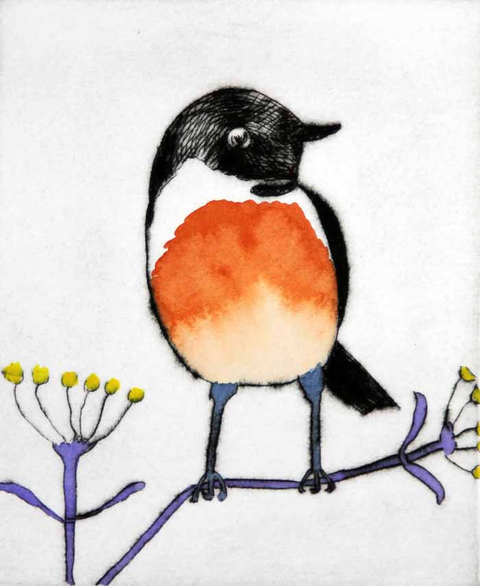 Stonechat  drypoint and watercolour £300 framed