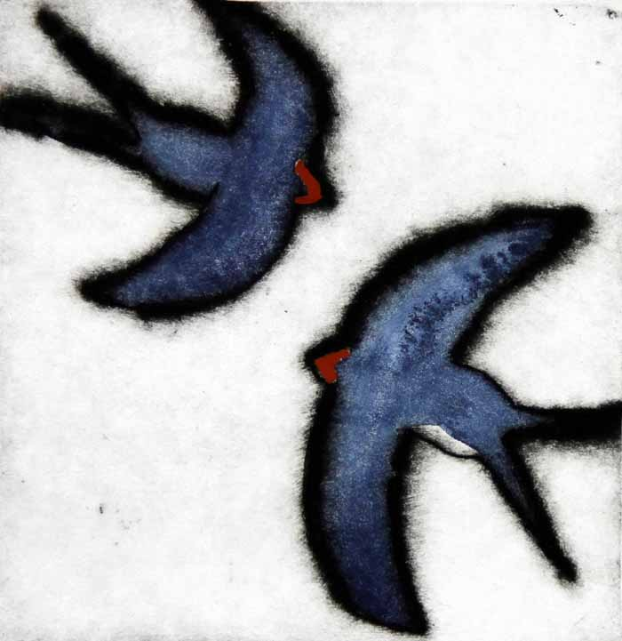 Swallows Darting  drypoint and watercolour 10 x 9.5 cm £80 unframed