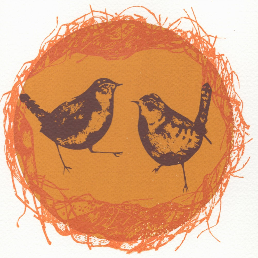 Wrens nest    screenprint    28cm x 28cm    £31 (unframed)