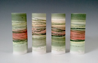 Medium Thin Vessels Mono-printed porcelain £68 each 17cm h x 6cm d