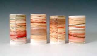 Medium Wide Vessels  Mono-printed porcelain  £128 each  16cm h x 9cm d