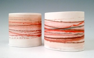 Small Wide Vessels Mono-printed porcelain £48 each 8.5cm h x 10cm d