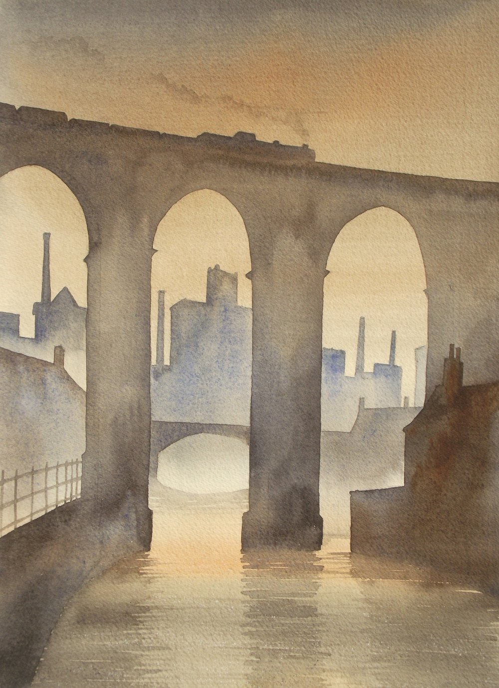 Stockport Viaduct watercolour SOLD
