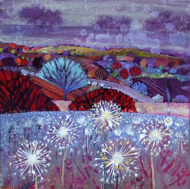 Aliums in landscape Acrylic on box canvas 40x40cm 16x16ins