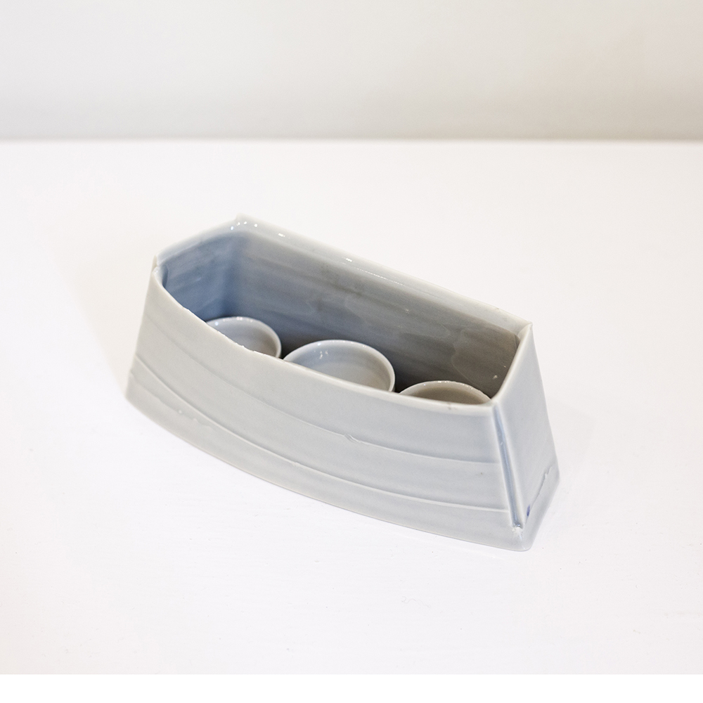 Elongate Pot and Three Bowls Porcelain 19x7cm £300