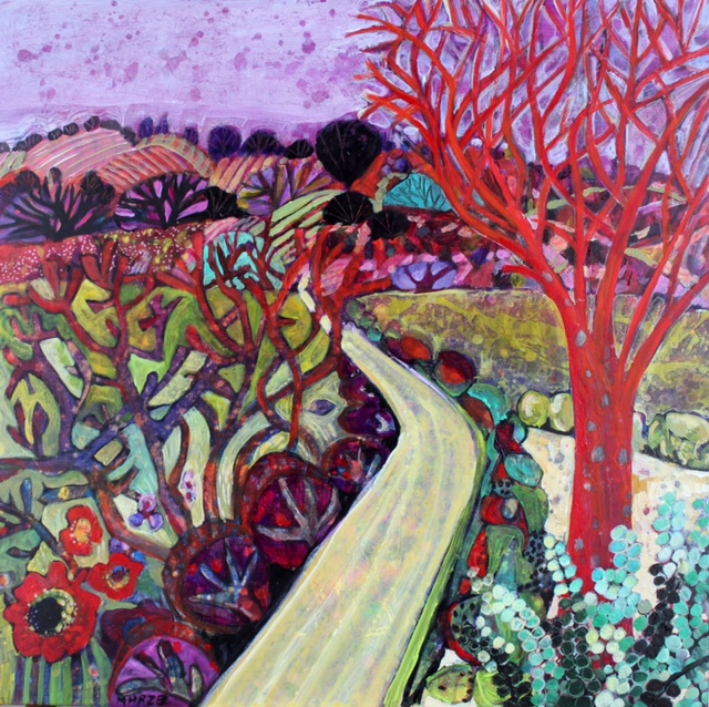 Moira Hazel Winding road acrylic on canvas 61x61cm