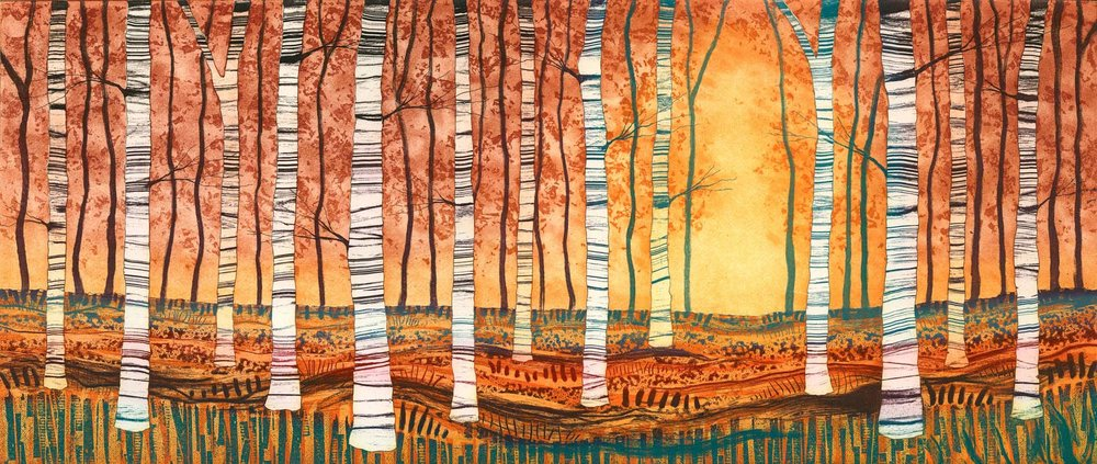 Silver Birch, Autumn Gold  etching  60 x 32cm unframed £320  70 x 42cm framed £395