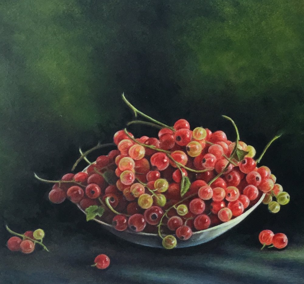 Redcurrants watercolour 20 x 24cm (framed) £375