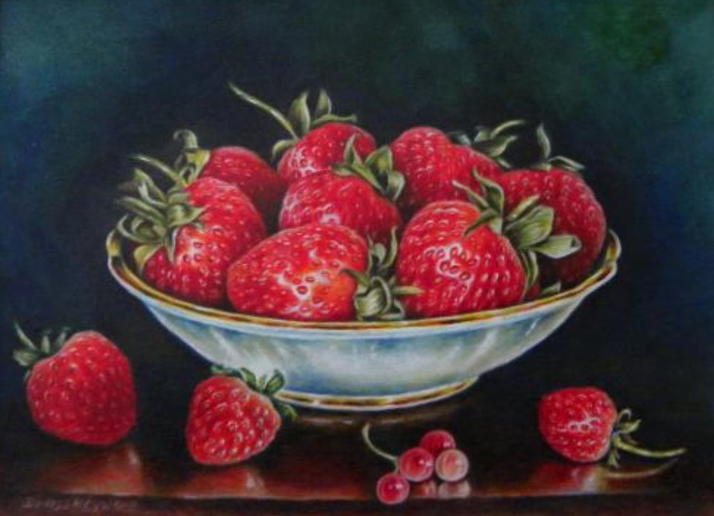 Strawberries watercolour 20 x 24cm (framed) £375