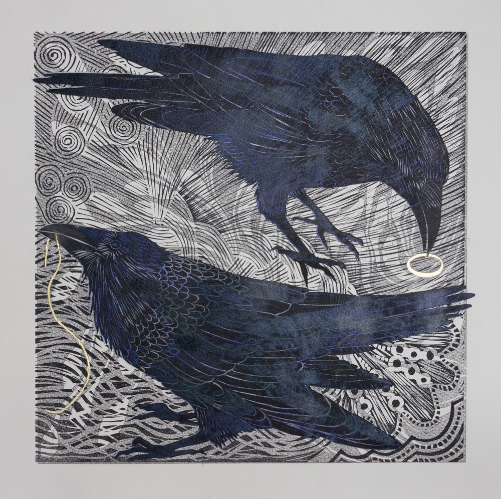 The Wind Sall Blaw for Evermair Linocut 30 x 30cm framed £545
