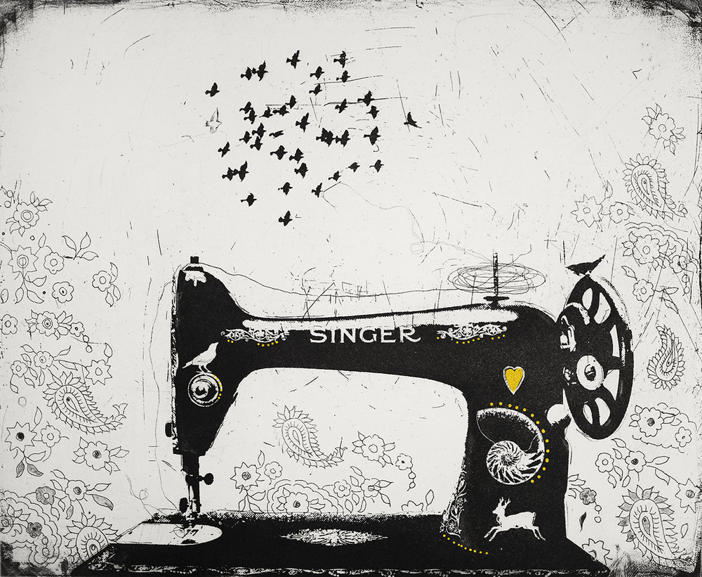 The Singer and the Song   etching  and gold leaf  57 x 51 cm  £350 (unframed)