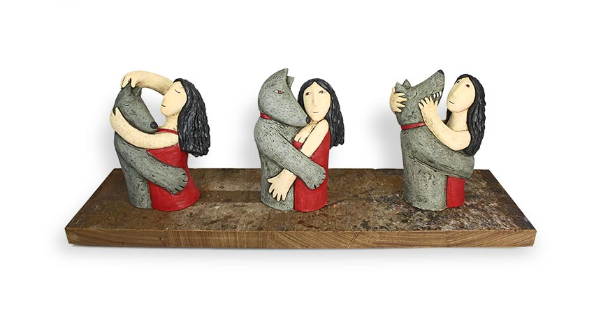 All the better to.... hand built clay and reclaimed wood 76 x 28cm           £1,200