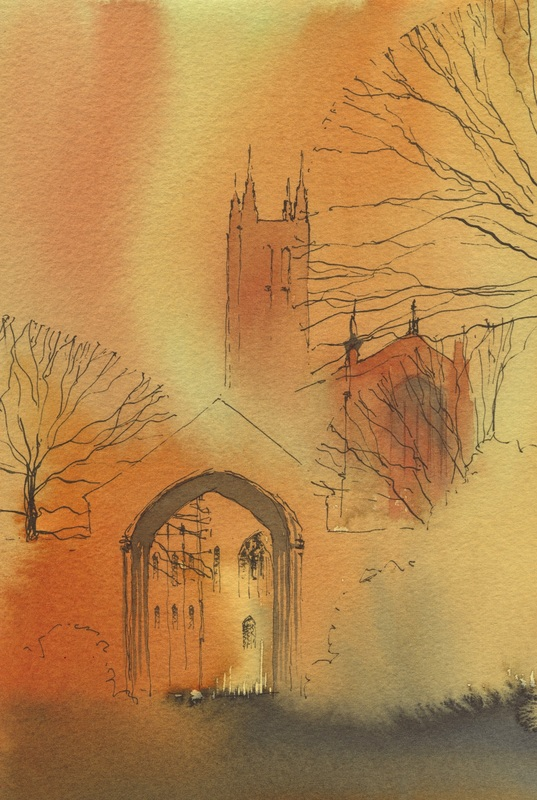 Canterbury Cathedral Close Watercolour  watercolour