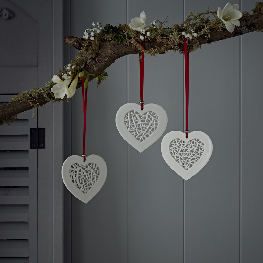 Tangled Heart Decoration  ceramic  £10 each