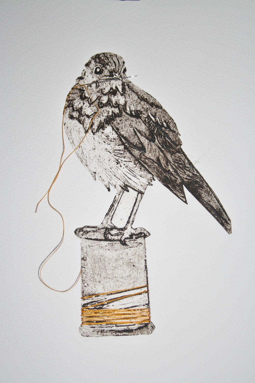 Sewing Bird   collagraph   30 x 43 cm  £260 framed
