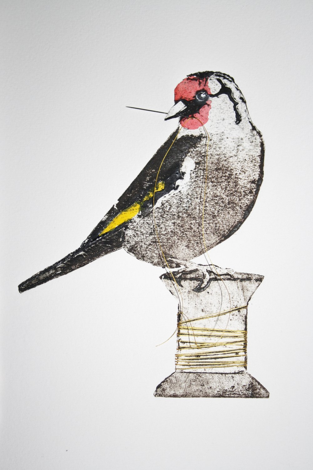 Sewing Goldfinch    collagraph   30 x 43 cm  £260 framed