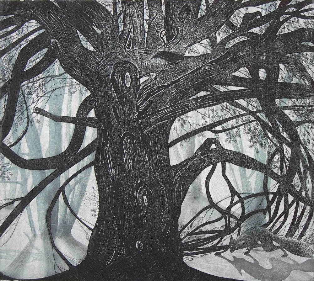 Under the Yew Tree  Etching  24 x 27 cm  £220 (Framed)  £175 (Unframed)