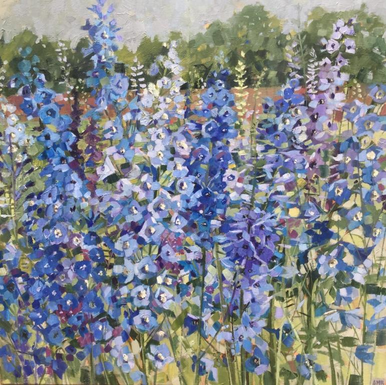 Delphiniums oil on linen 60 x 60 cm Sold