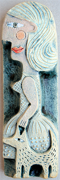 Woman and Dog  ceramic   3 x 14 cm  SOLD