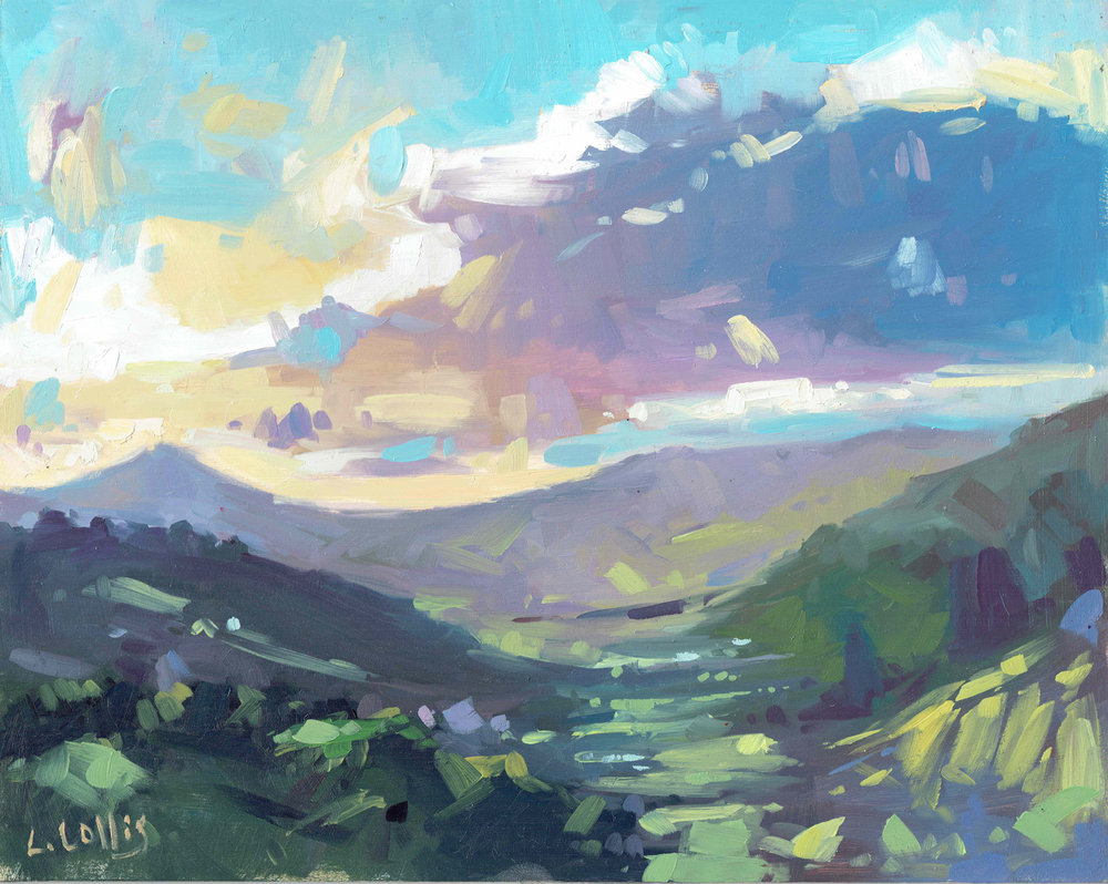 Black Mountains Purple Haze  oil on board  25cm X 20cm  £295