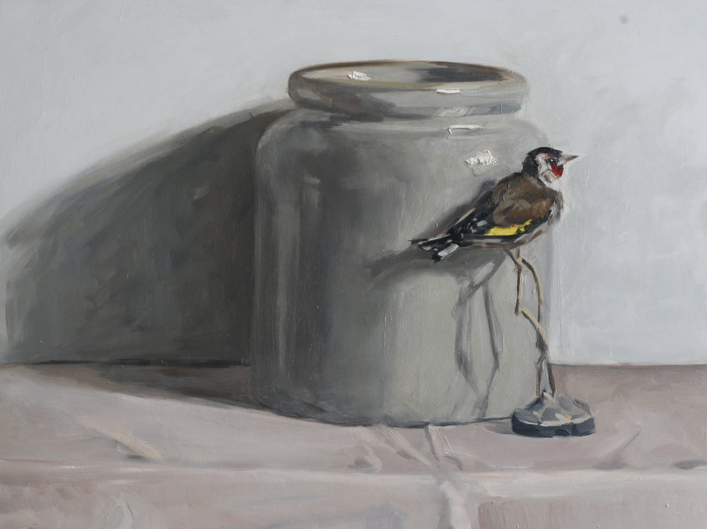 Confit Pot and Goldfinch   oil on gesso panel   30 x 40cm painting size  45 x 55cm frame size  SOLD