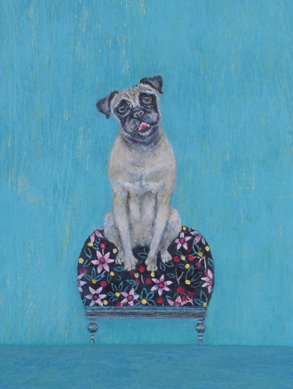 Pug  13 x 18 cm Acrylic on board £275