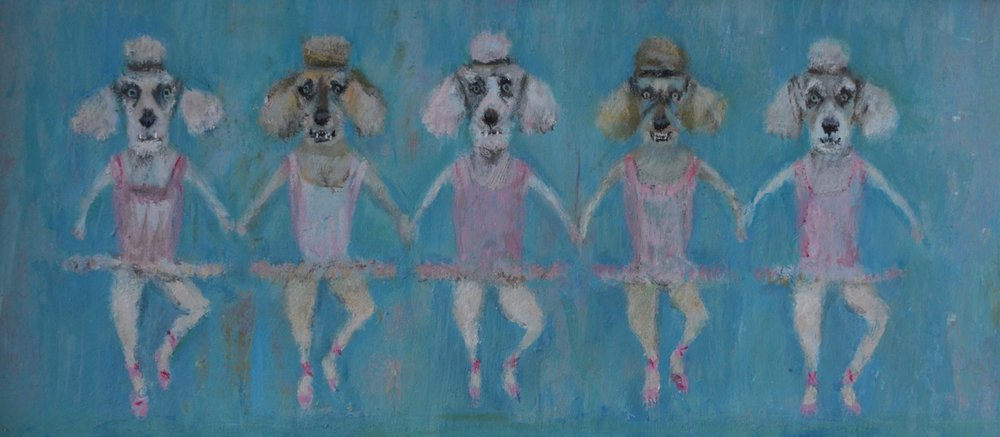 Bring on the dancing girls 28 x 13 cm Acrylic on board £295