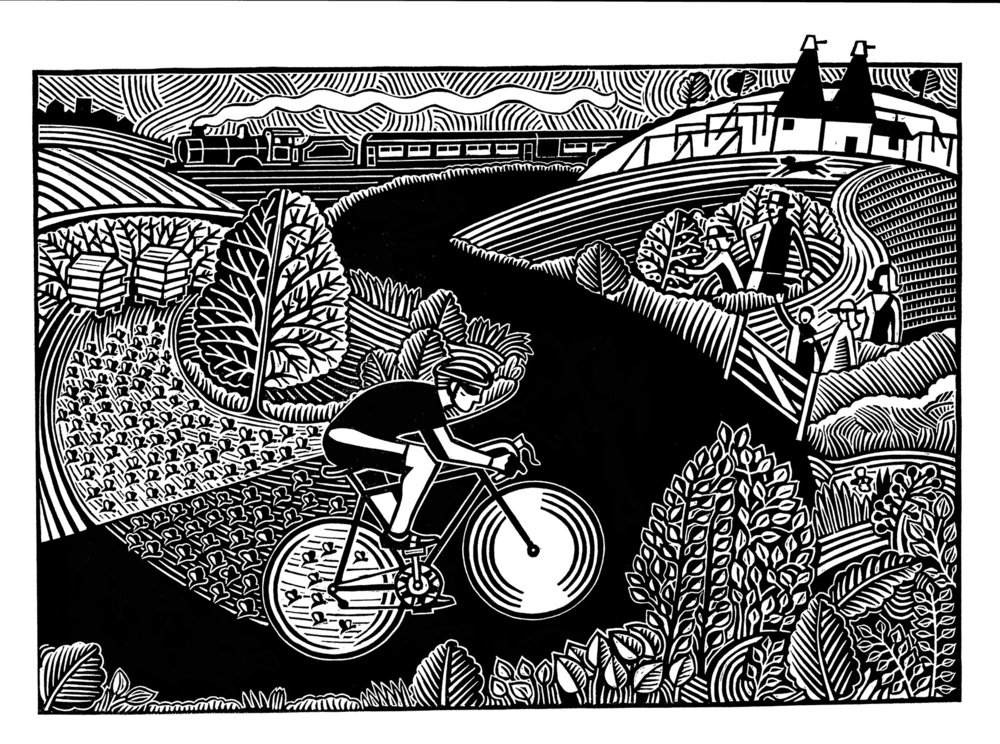 Bee is for Bicycle 30cm x 47 cm linocut £130 unframed £260 framed